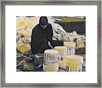 Boston Bucket Man Framed Print