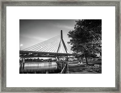 Boston Bunker Hill Bridge At Night Black And White Picture Framed Print by Paul Velgos
