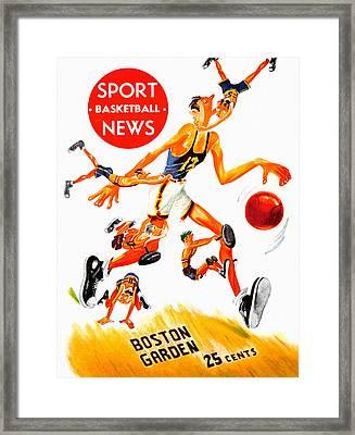 Boston Celtics # 2 Vintage Program Framed Print by Big 88 Artworks