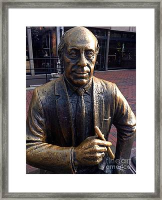 Boston Celtics Red Auerbach In Bronze Framed Print by Gina Sullivan