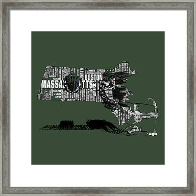 Boston Celtics Typographic Map 3a Framed Print by Brian Reaves