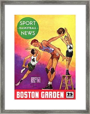 Boston Celtics Vintage Program Framed Print by Big 88 Artworks