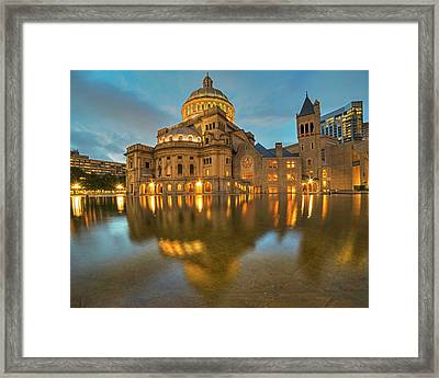 Boston Christian Science Building Reflecting Pool Framed Print by Toby McGuire