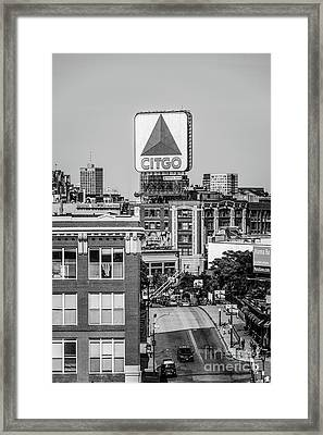 Boston Citgo Sign Black And White Photo Framed Print