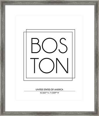 Boston City Print With Coordinates Framed Print