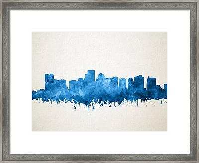 Boston City Skyline Watercolor 11 Framed Print