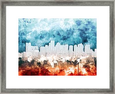 Boston City Skyline Watercolor 2 Framed Print