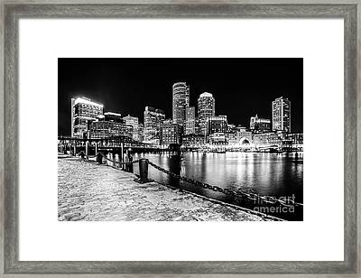 Boston Cityscape At Night Black And White Photo  Framed Print by Paul Velgos