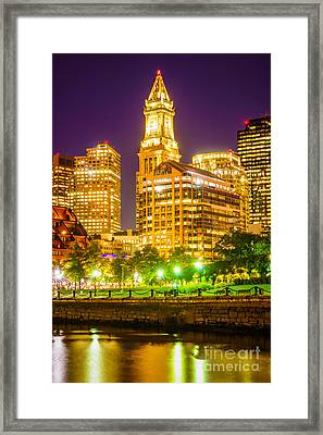 Boston Cityscape At Night Framed Print by Paul Velgos