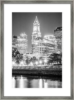 Boston Cityscape Black And White Photo Framed Print