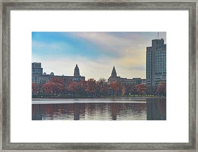 Boston College From The Charles River Framed Print by Bill Cannon
