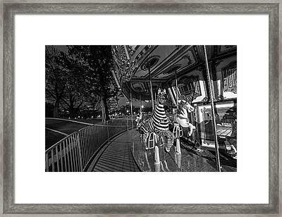 Boston Common Carousel Boston Ma Black And White Framed Print by Toby McGuire