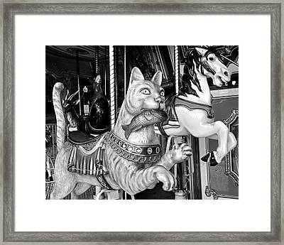 Boston Common Merry Go Round Cat Boston Ma Black And White Framed Print by Toby McGuire