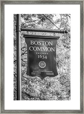Boston Common Sign Black And White Photo Framed Print by Paul Velgos