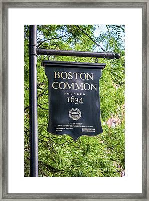 Boston Common Sign Photo Framed Print by Paul Velgos