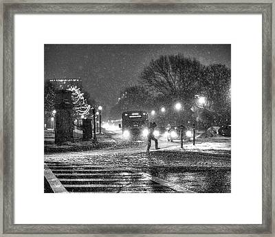 Boston Common Snowstorm Ma Black And White Framed Print