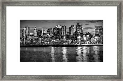 Boston Evening Skyline  - Monochrome Panorama Framed Print