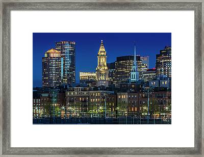 Boston Evening Skyline Of North End And Financial District Framed Print