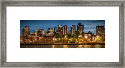 Boston Evening Skyline Of North End And Financial District - Panoramic Framed Print