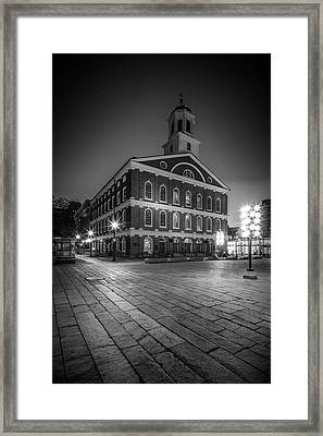 Boston Faneuil Hall In The Evening - Monochrome Framed Print