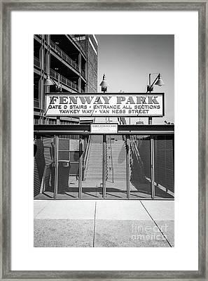 Boston Fenway Park Sign Black And White Photo Framed Print by Paul Velgos