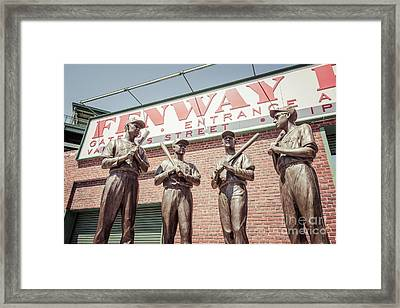 Boston Fenway Park Sign Gate B Statues Framed Print by Paul Velgos