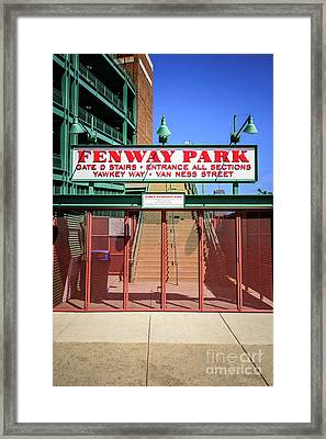 Boston Fenway Park Sign Gate D Entrance Framed Print by Paul Velgos