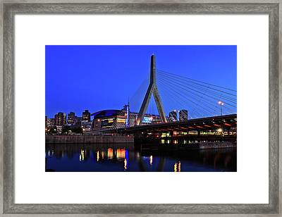 Boston Garden And Zakim Bridge Framed Print