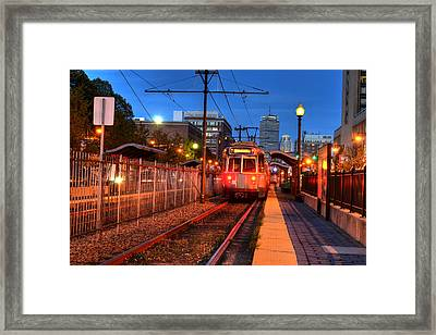 Boston Green Line Train Headed To Kenmore Square Framed Print by Toby McGuire
