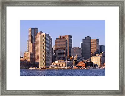 Boston Harbor And New England Aquarium Framed Print