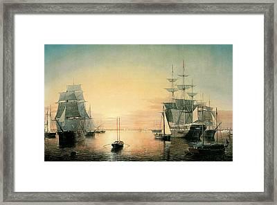 Boston Harbor Framed Print by Fitz Hugh Lane