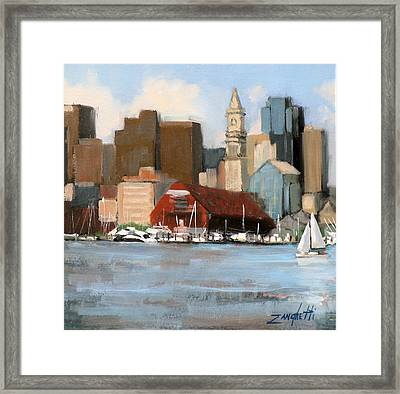 Boston Harbor Framed Print by Laura Lee Zanghetti