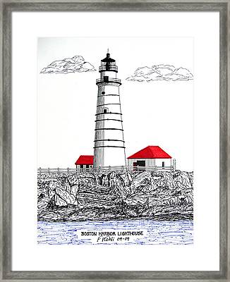 Boston Harbor Lighthouse Dwg Framed Print by Frederic Kohli