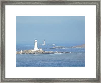 Boston Harbor Lighthouses Framed Print by Catherine Gagne