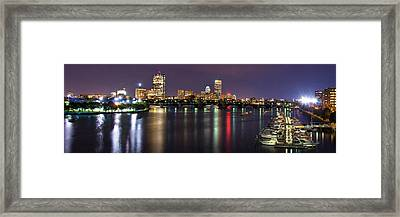 Boston Harbor Nights-panorama Framed Print