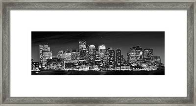 Boston Harbor Panorama In Black And White Framed Print by Frozen in Time Fine Art Photography