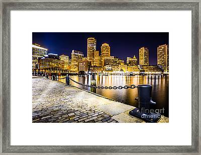 Boston Harbor Skyline At Night Picture Framed Print