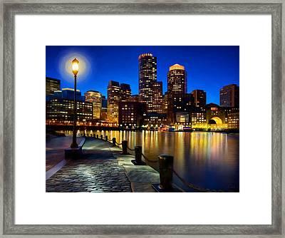 Boston Harbor Skyline Painting Of Boston Massachusetts Framed Print by James Charles