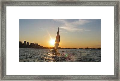Boston Harbor Sunset Framed Print