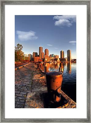 Boston Harborwalk Sunrise Framed Print by Joann Vitali