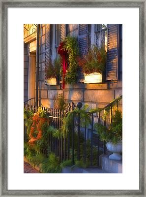 Boston Holiday Doorstep Framed Print