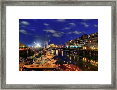 Boston Long Wharf At Night Framed Print