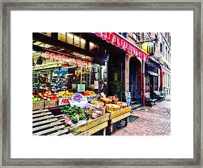 Boston Ma - Fruit Stand Framed Print by Susan Savad