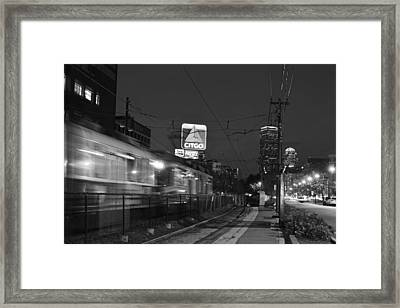 Boston Ma Green Line Train On The Move Black And White Framed Print by Toby McGuire