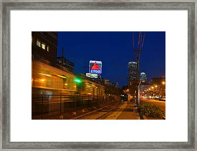Boston Ma Green Line Train On The Move Framed Print by Toby McGuire