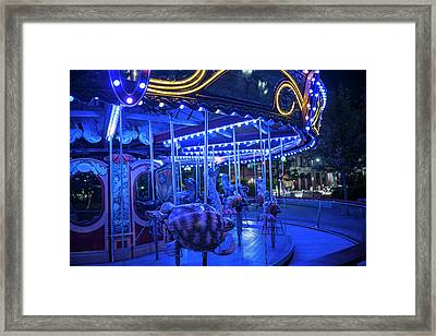 Boston Ma Greenway Carousel Lit Up In Blue Framed Print
