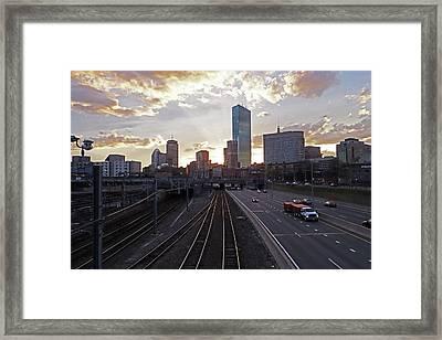 Boston Ma Mass Pike Boston Skyline Sunset Framed Print by Toby McGuire