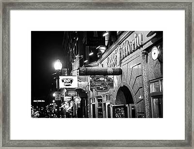 Boston Ma North End Cigar Shop Black And White Framed Print