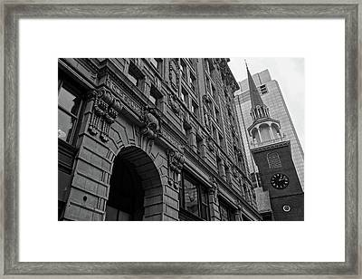 Boston Ma Old South Building Black And White Framed Print