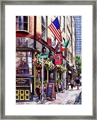 Boston Ma - Restaurants On Creek Square Framed Print by Susan Savad